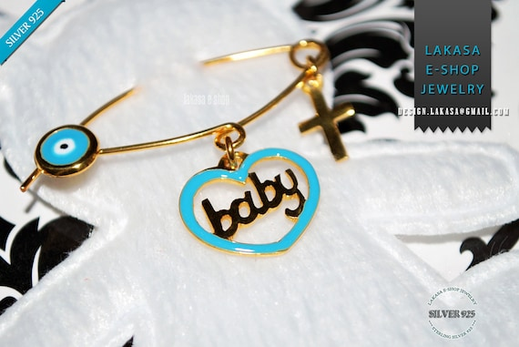 Blue Enamel Heart Baby Boy Brooch Silver 925 Gold-plated Handmade Jewelry Cross Eye Mommy HappyShowerDay Religious Baptism Newborn