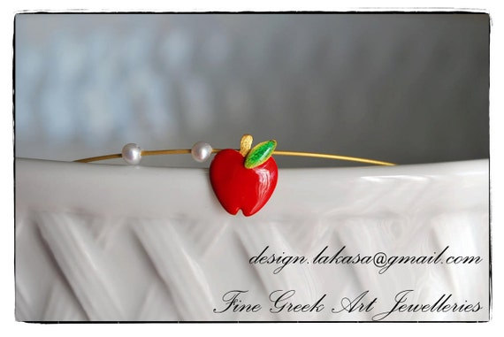 Red Enamel Apple Pearls Sterling Silver Goldplated Jewlery Handmade Necklace Birthday Girlfriend Beauty Forbidden Fruit Passion Love Woman