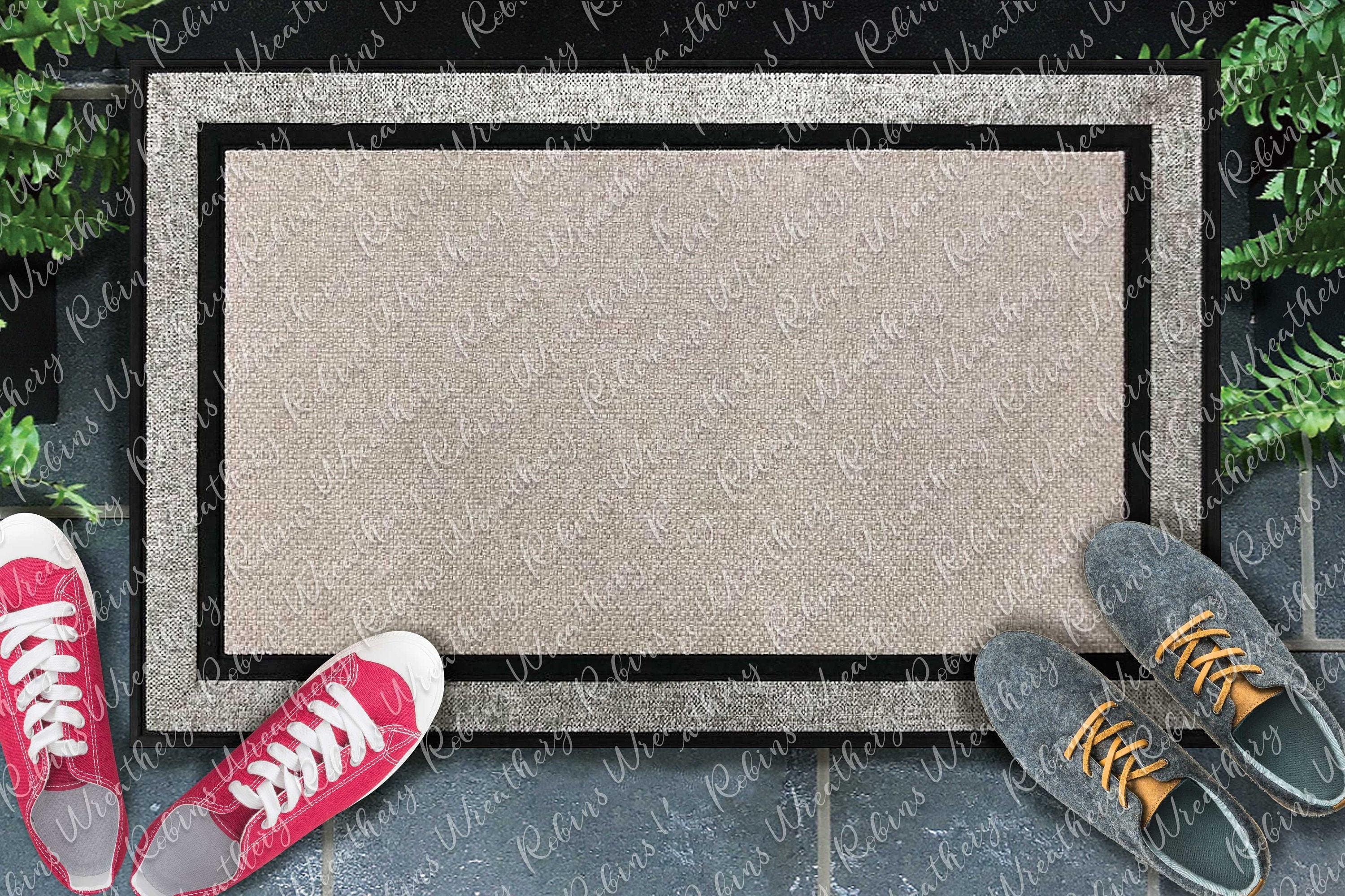 Digital File Simple Sublimation Doormat Mockup with gray shoes
