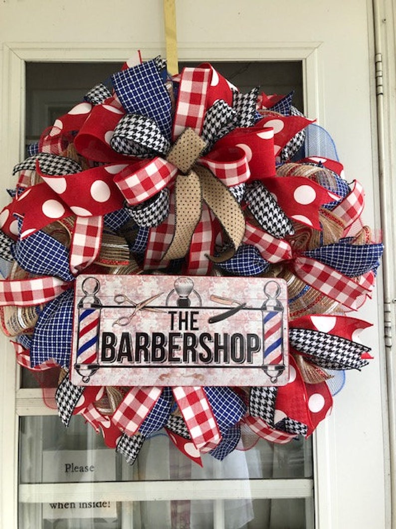 Wreath Supplies Barber Shop Wreath Sign,Barber shop Wall decor Wreath Attachment
