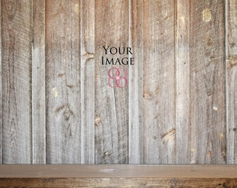 Real Photo Mockups Farmhouse Mock Ups Rustic Wall And Shelf Brown Blank Wood Up Mockup Backgrounds Empty