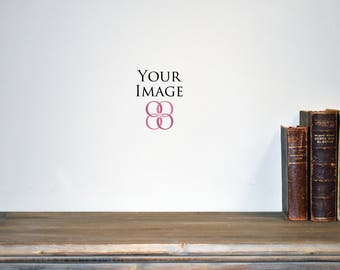 Download Free Real photography mockups, rustic wood table and 3 books, blank white wall mock ups, vintage books on table mock up, empty grey wall mock up PSD Template