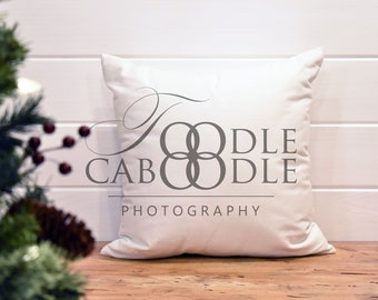 Download Free Styled Stock Photography Christmas Pillow, White Linen Square Pillow Mockup, Tree and Pillow Mock Up, Digital File Mockups, White Background PSD Template