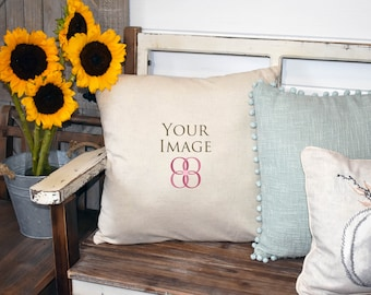 Download Free Real photo mockups, farmhouse style mock ups, linen and pumpkin pillow sunflowers, square pillow mock up, real linen pillow mockup on bench PSD Template