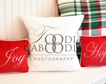 Download Free Styled Stock Photography Christmas Pillow, White Square Pillow Mockup Mock Up, Red Green White Plaid, Digital File Mockups, White Background PSD Template