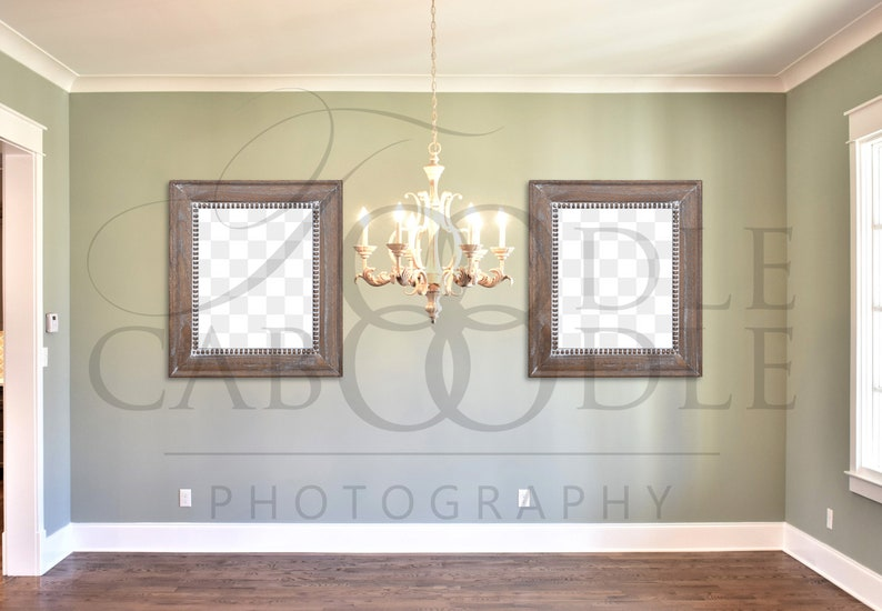 Etonnant Two Frame Mockup, PNG File Blank Frames, Dining Room Mockup, Large Wood  Frames, Wood Floor, Chandelier, Vertical Frame Mock Up, Empty Frames