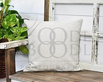 Pillow Mockup, Linen Pillow, Square Pillow Mock Up, Pillow on Windowpane Bench, Shiplap Wall, Beige Pillow Mock Ups, Basket of Greenery