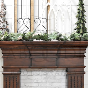 Add A Frame or Art Thanksgiving Wreath Shiplap Wall Mock Ups Fireplace Mockup Fall Mantel Mock Up White Shelf with Pumpkins and Leaves