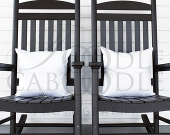 Two Pillow Mockup, White Square Pillow Mockups, Pillows in Black Rocking Chairs on Porch, Farmhouse Pillow Mockup, Flat JPEG, Commercial Use