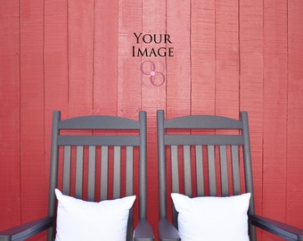Real photo mockups, farmhouse style mock ups, 2 black rocking chairs and pillows outside a red barn, empty wood wall, blank wall and pillows