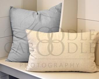 Pillow Mockup, Rectangular Linen Pillow Mockups, Canvas Pillow, Simple Pillow Mock Up, Square Grey Fluffy Pillow, Light Grey Shiplap, JPG