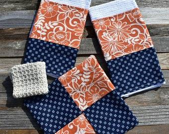 Kitchen Towels, 4 Piece Set, 2 Dish Towels, 1 Hot Pad and 1 Crochet Dishcloth, Kitchen Linens, Orange, Navy, Housewarming Gift.