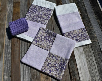 Kitchen Towels,  4 piece kitchen set, lavender, purple, Includes 2 dish towels, 1 hot pad and 1 crochet dishcloth. Housewarming Gifts.