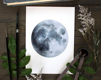 e04591a8a Moon Print, Watercolor Painting, Lunar, Nature Art, Minimalism, Space, Night  Sky, Full Moon, Moon Art, Moon Painting, Lunar Art, Celestial