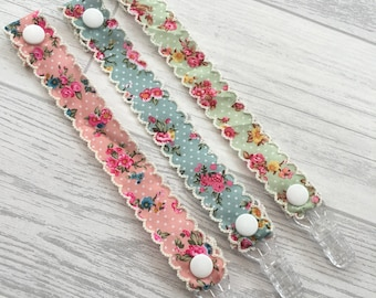 dummy clips, dummy clip, floral dummy clip, pacifier clip, soother clip