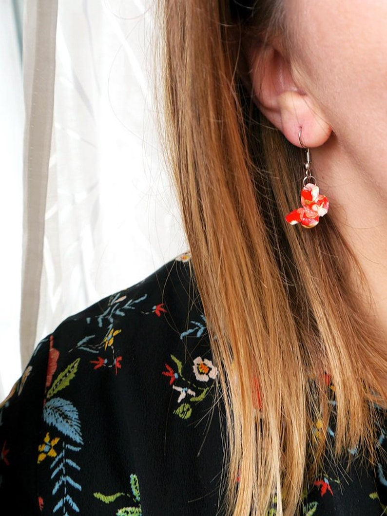red Origami butterfly pendant earrings for woman orange mustard yellow and duck blue