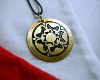 Tudor Rose Brass Pendant