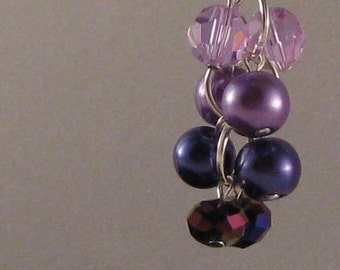 Purple, Lilac and Mauve Cascade Earrings