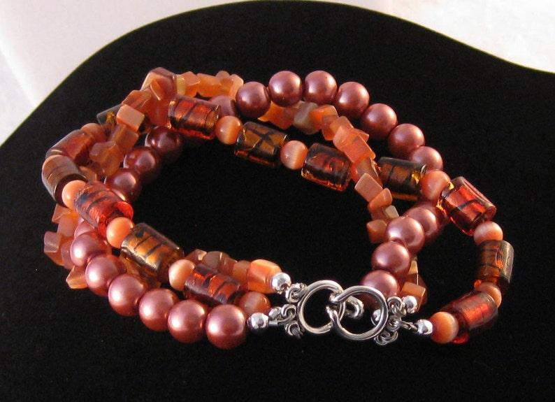 Three String Chunky Beaded Bracelet