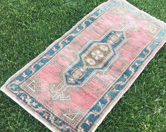 bohemian minis rug- 1,80x2,72 feet- oushak small rug,boho small size rug,bath mat area  rug turkish small rug rustic rug