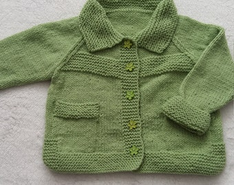 Hand knitted girls coat