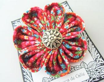 Big kanzashi flower brooch, ANNETTE, Les Yoyos de Calie, vintage fabric brooch, kawaii, gift for her, textile brooch, japanese flower pin,