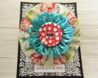 Yoyo fabric brooch, ROMY, Les Yoyos de Calie, boho brooch, japanese brooch, handmade brooch, textile brooch, kawaii brooch, gift for her,