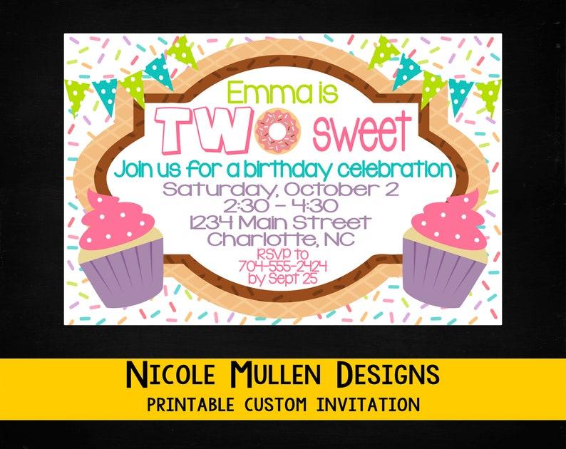TWO Sweet Birthday Invitation Printable CUSTOM