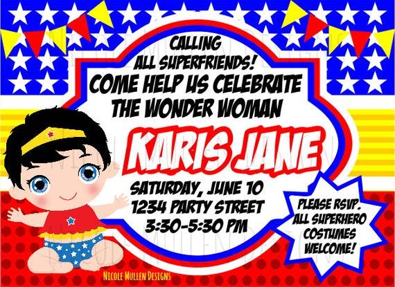 Wonder Woman Birthday Invitation Printable CUSTOM