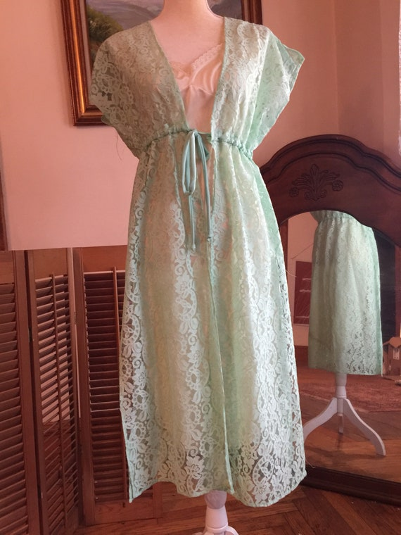 MCM lace robe duster- 60s retro mint green