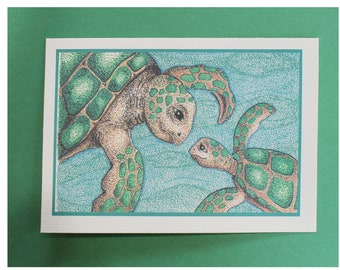 """Mom and Turtle Blank Inside Card/Mother and Baby Turtle/Mom with Baby Turtle Card/Turtle Card/ All cards fits into a 5""""x 7"""" frame!"""
