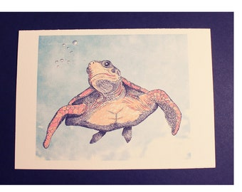 """Nice Day! Color Blank Inside Card/Turtle Card/Turtle Art/Turtle Stipple/Turtle Swimming/All cards fits into 5""""x 7"""" frame! PERSONALIZE IT!"""