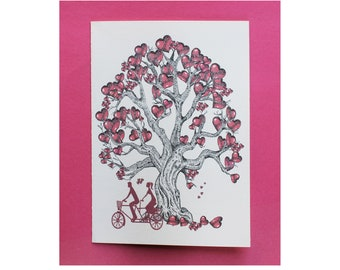 """Heart Tree Tandem Bicycle/Tandem Bicycle Card/ Love Card/ Original Stipple Art/All Cards fit into a 5""""x7"""" frame!/PERSONALIZE IT!"""