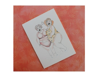 """Beach Babes Blank Inside Card/Beach Ladies/Fat Women in Bathing Suites/Fat Ladies Card/Funny Fat Ladies/ All cards fits into a 5""""x 7"""" frame!"""
