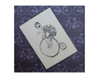 Bicycle Turtle Blank Card/ Bicycle Card/Turtle Card/TurtleBike Card/Turtle BikeStipple/Turtle Art/Cards fit into 5x7 frame/PERSONALIZE IT!