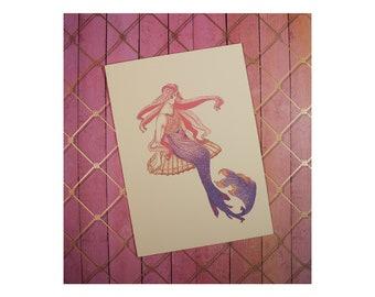 """Beautiful Mermaid/Mermaid card/ Mermaid art/ Mermaid greeting/Stipple Mermaid/ All cards fit into a 5""""x7"""" frame!/PERSONALIZE IT!"""