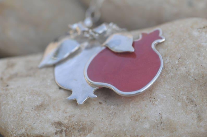 Fertility Necklace Pomegranate Necklace Bat Mitzvah Gift Red Silver Pendant Necklace Fertility Jewelry,Talisman Judaica Jewish Jewelry