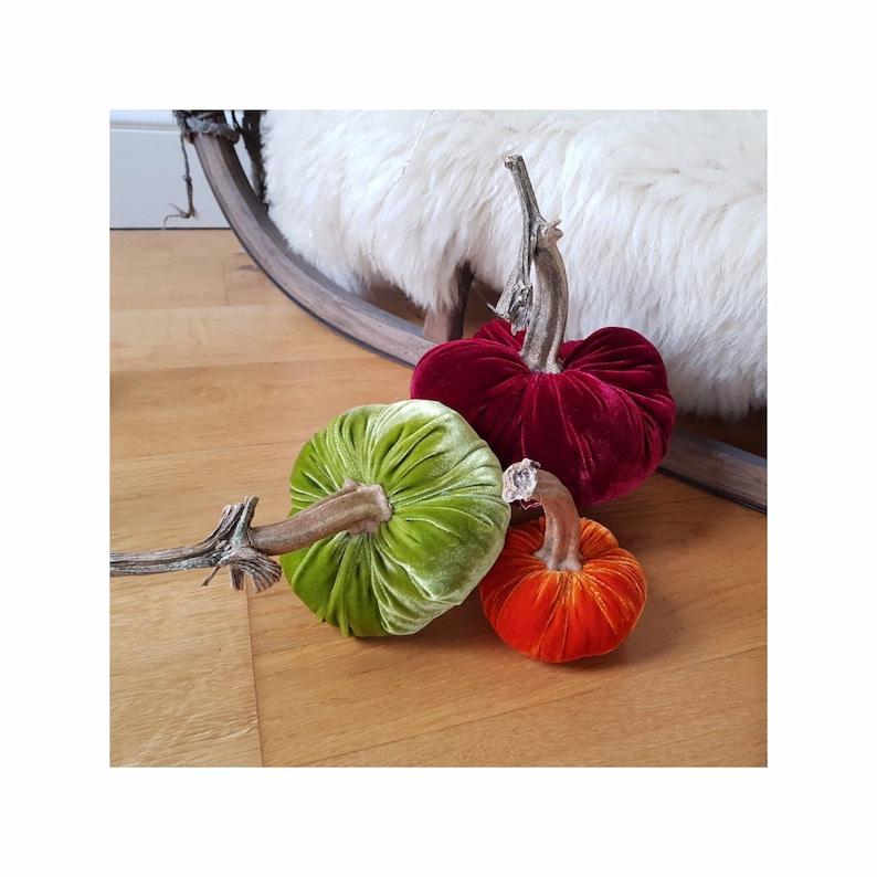 Silk velvet pumpkin Fall Sunrise trio with real pumpkin stem