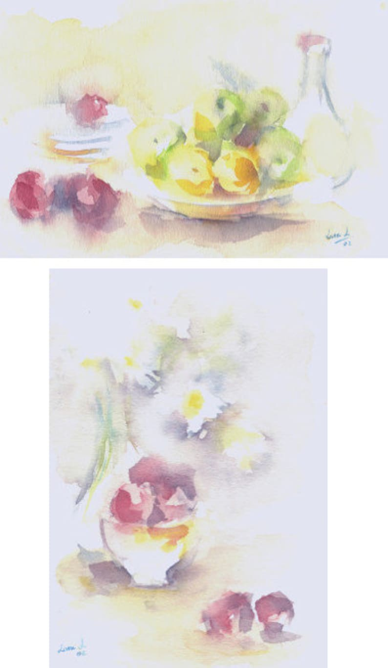 A pair of original watercolor title BOCETO FRUTAS Size 28x19 image 0