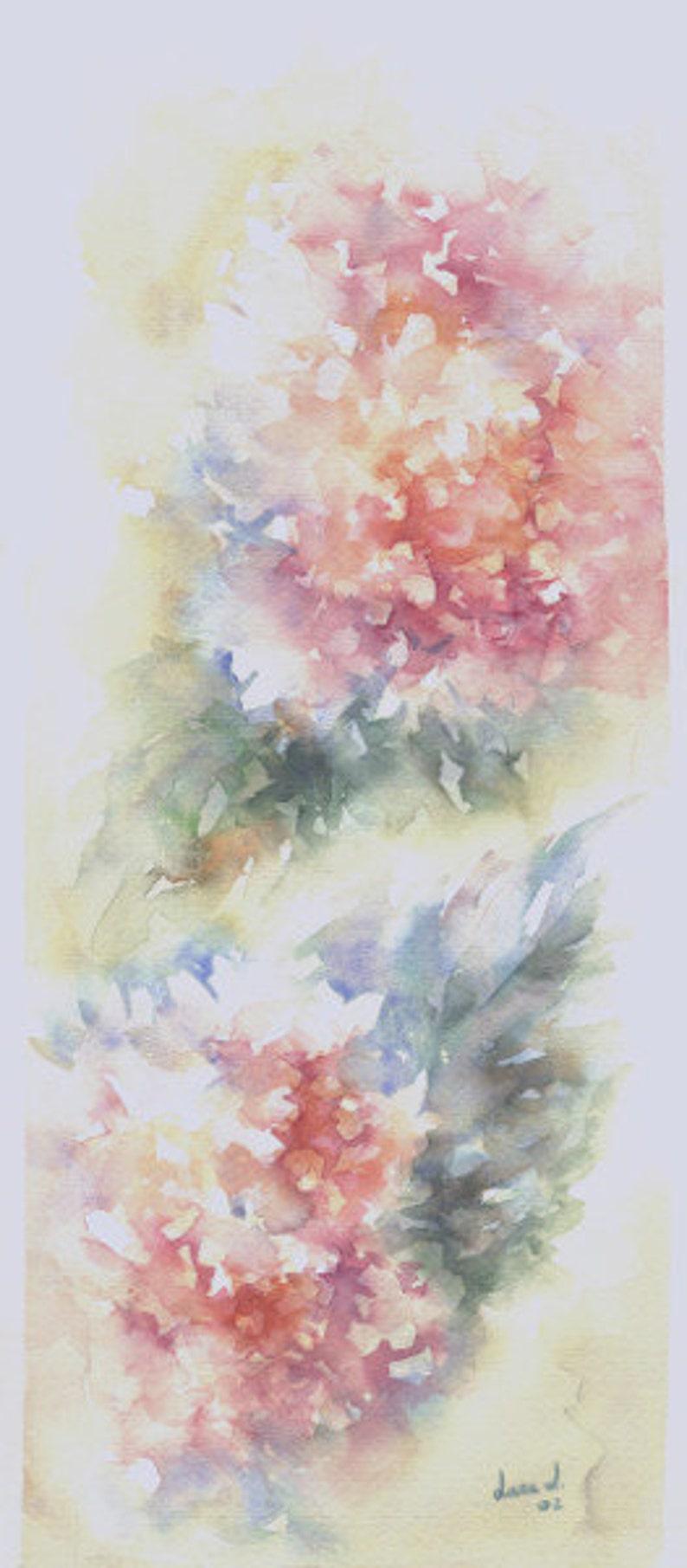 Original watercolor title HORTENSIAS Size 43x19 cm.  Flowers image 0