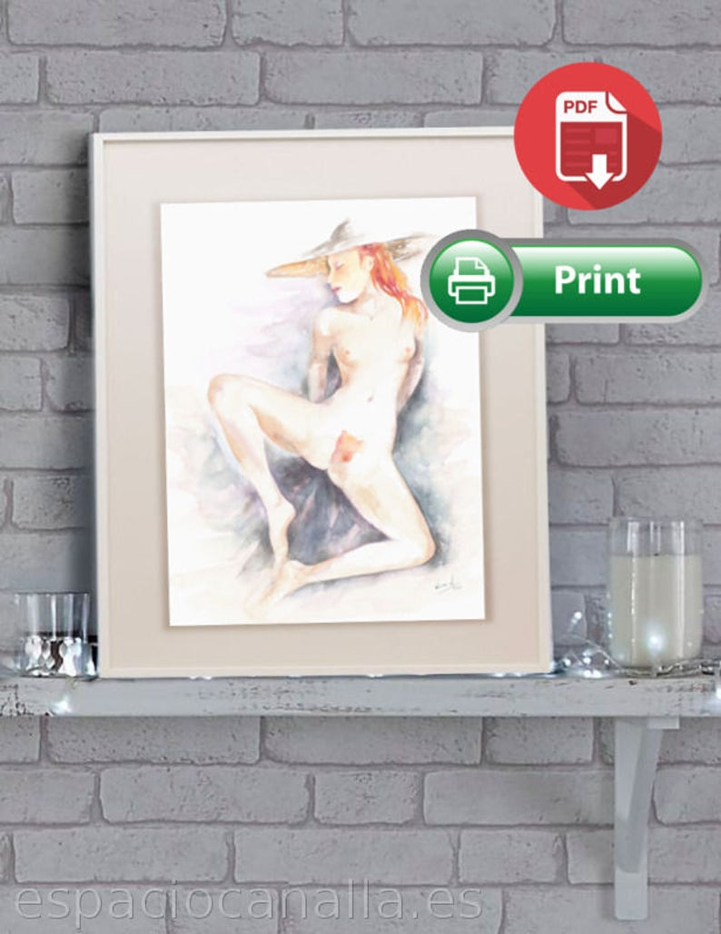 Watercolor printable art erotic naked girl with red hair image 0