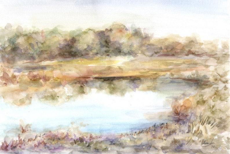 Original watercolor title LAGO Size 50x35 cm.  Landscape image 0