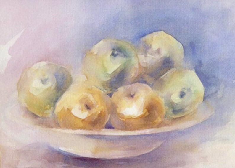 Original watercolor title MANZANAS Size 44x32 cm.  Fruit image 0