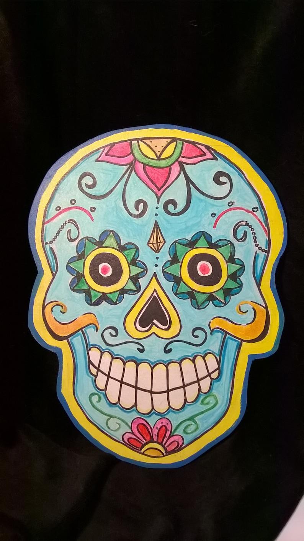 CALAVERA MEXICANA.  Die cut wooden. Mexican skull. OOAK image 0