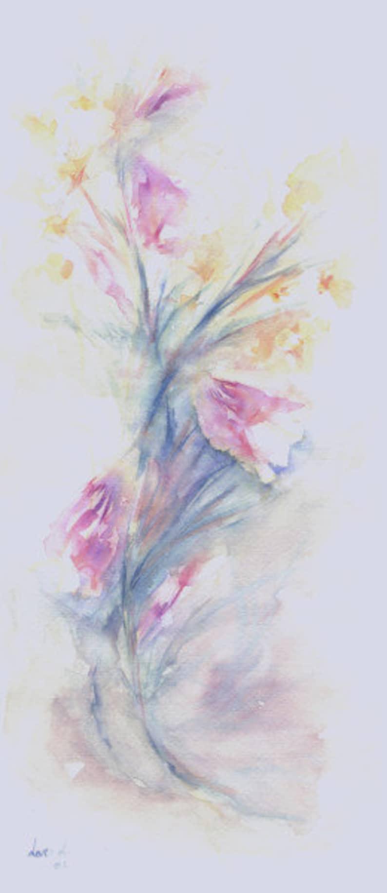 Original watercolor title CAMPANILLAS 02 Size 43x19 cm. image 0