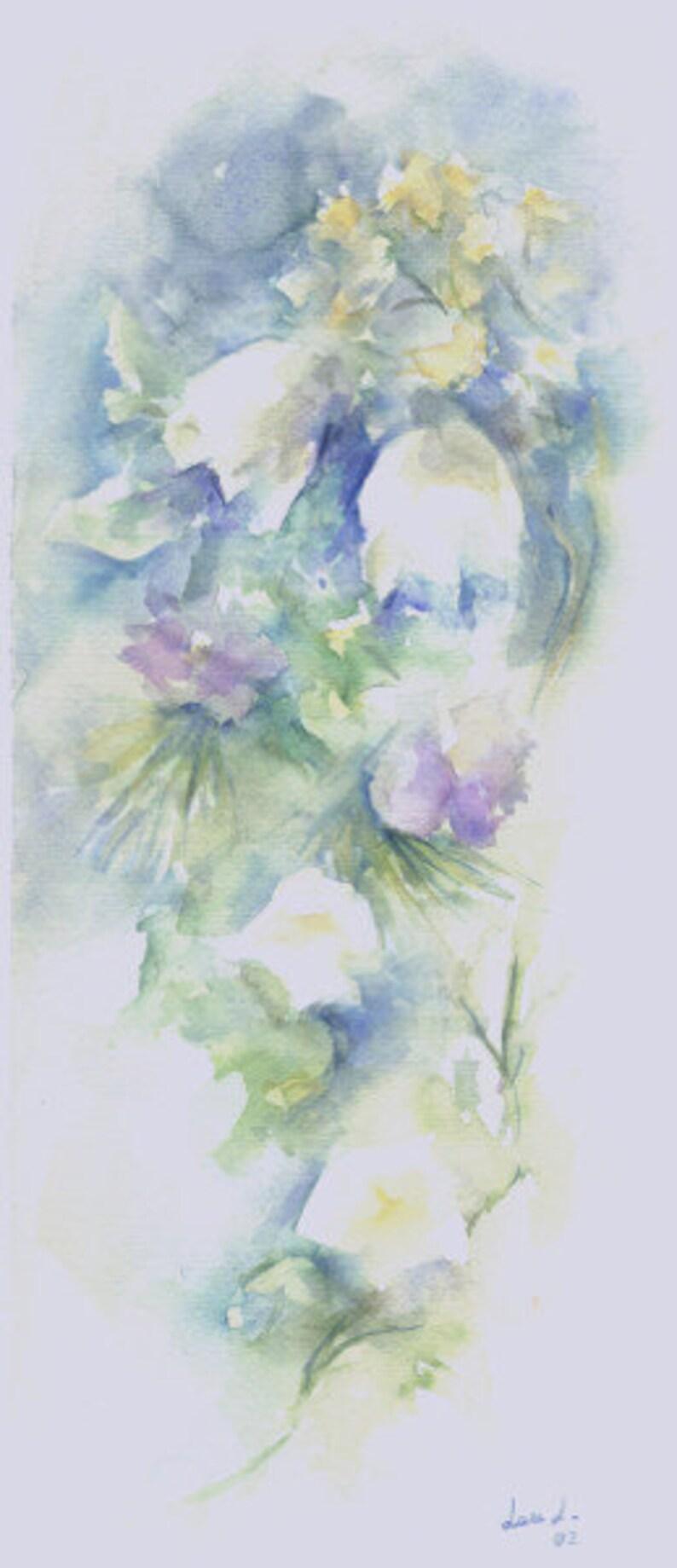 Original watercolor title CAMPANILLAS 01 Size 43x19 cm. image 0