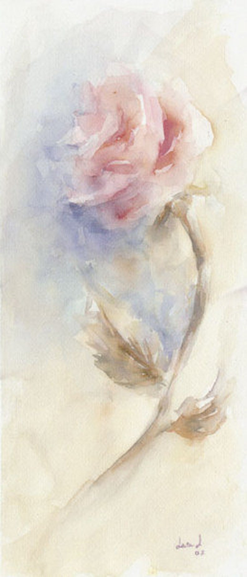 Original watercolor title ROSA Size 43x19 cm.  Flowers theme image 0