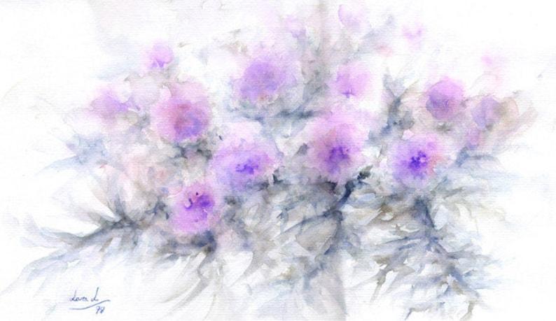 Original Watercolor title CARDOS 50x35 cm.  Flowers theme. image 0