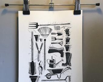 Gardening Tools Original A4 Lino Block Print