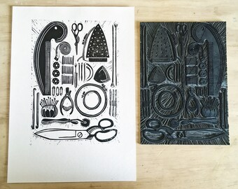 Sewing and textiles Tools and equiptment Original A4 Lino Block Print